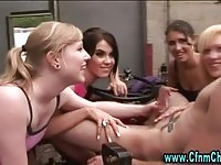 Four babes wanking a farmer boy